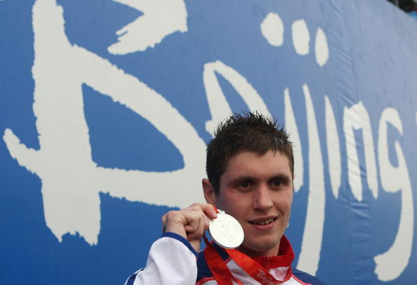 David Davies with Olympic silver medal Beijing 2008 August 21