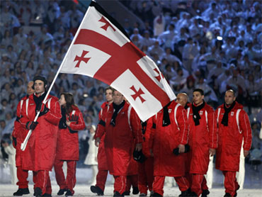 Georgia team march in Vancouver 2010 Opening Ceremony