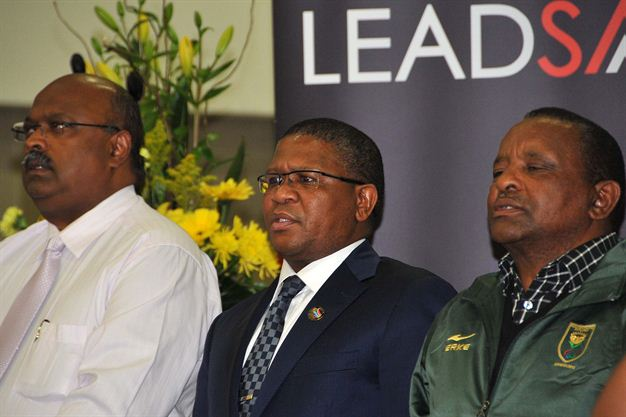 Gideon Sam with Fikile Mbalula and Tubby Reddy