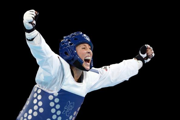 Jade Jones celebrates winning Olympic gold medal August 9 2012