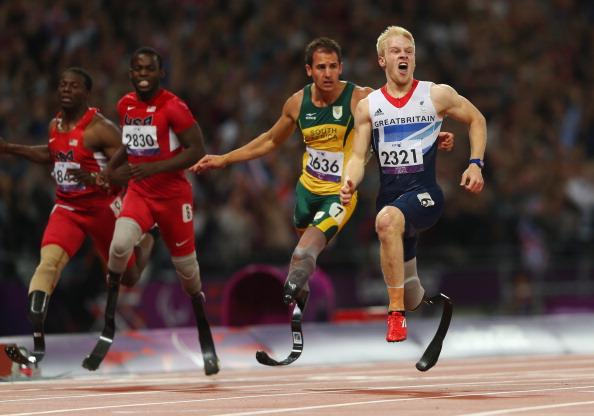 Jonnie Peacock celebrates winning T44 100m September 6 2012