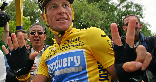Lance Armstrong indicating seven Tour de France titles