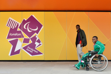 London 2012 Paralympic logo behind wheelchair