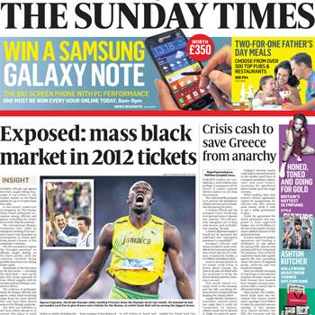 London 2012 tickets Sunday Times