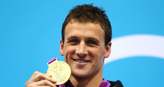Ryan Lochte with gold medal London 2012