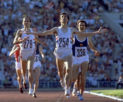 Sebastian Coe wins the Olympic 1500m Moscow 1980