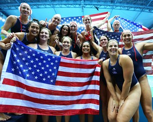 Team USA celebrate winning water polo London 2012
