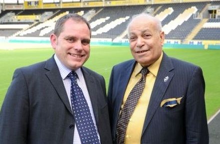 Assem Allam with English Squash and Racketball chief executive Nick Rider at the KC Stadium