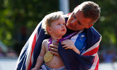 David Weir with son Mason London 2012