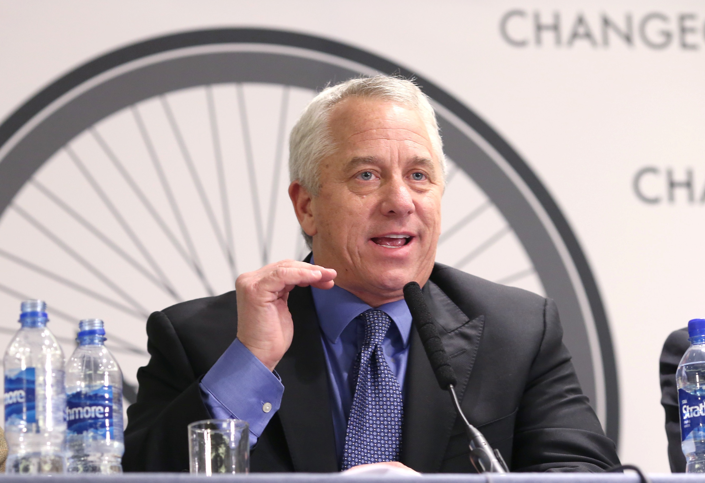 Greg LeMond in front of Change Cycling Now logo 3
