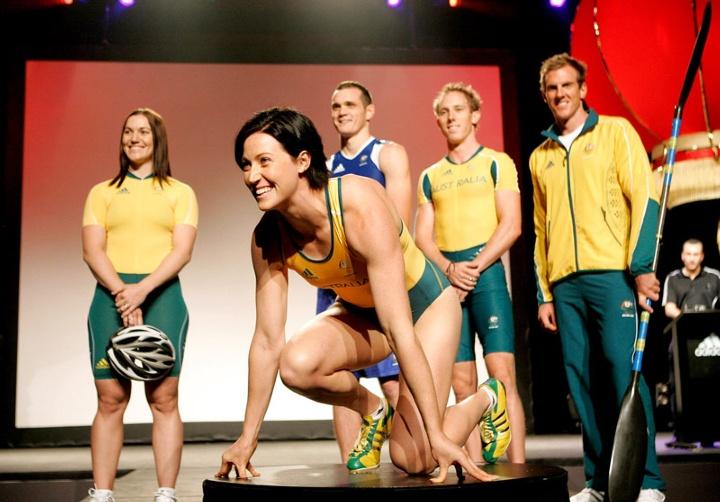 Jana Pittman modelling Australia kit for London 2012