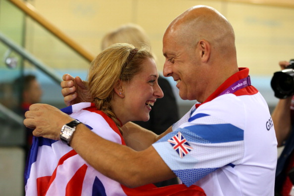 Laura Trott of Great Britain and British Cycling director Dave Brailsford