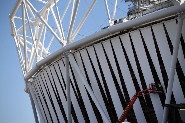 London 2012 Olympic stadium Dow wrap