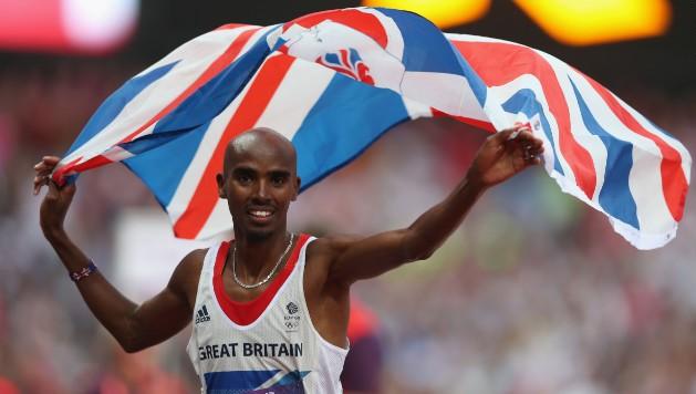 Mo Farah celebrating with Team GB flag