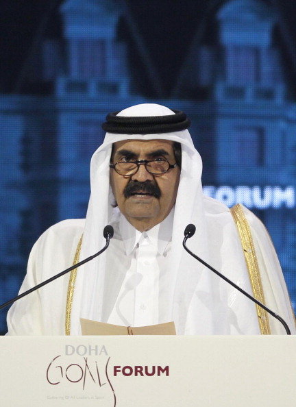 Sheikh Hamad Bin Khalifa Al Thani talks during the official opening ceremony of Doha Goals