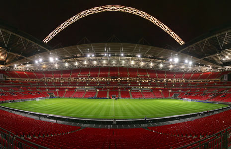 Wembley Stadium at night