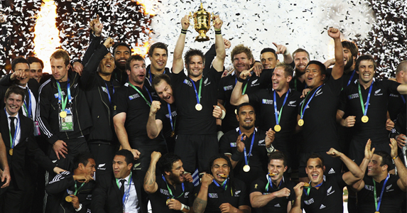 All Blacks celebrate winning 2011 Rugby World Cup