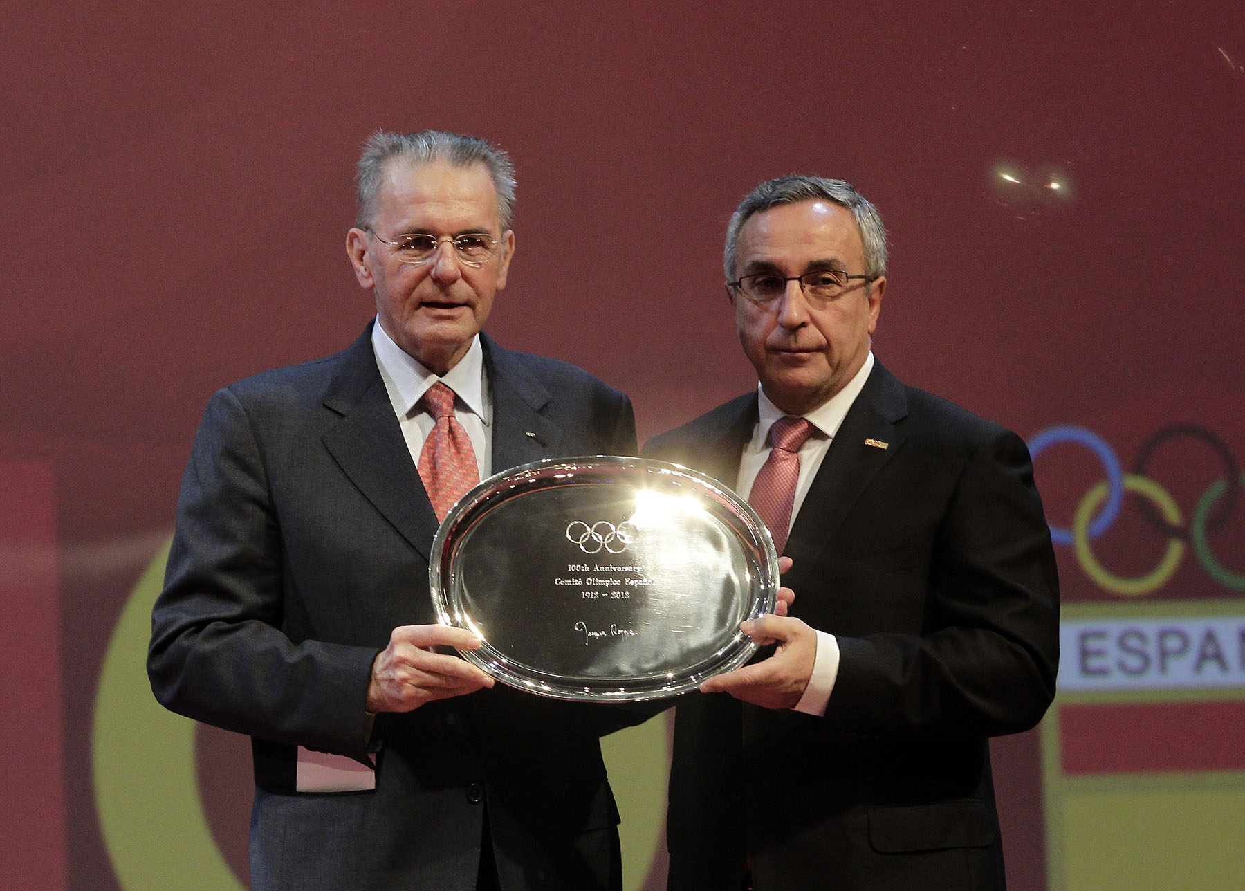 Jacques Rogge with Alejandro Blanco COE Centenary December 12 2012