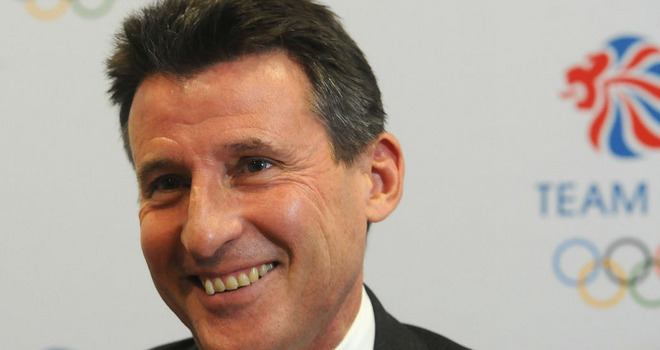 Sebastian Coe in front of BOA logo