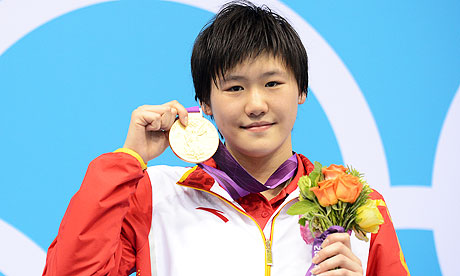 Ye Shiwen with London 2012 gold  medal after 400m Im