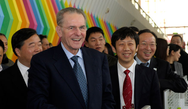 IOC President Jacques Rogge visits Nanjing ahead of the second Summer Youth Olympic Games in 2014