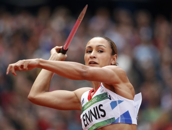 Jessica Ennis throwing javelin London 2012