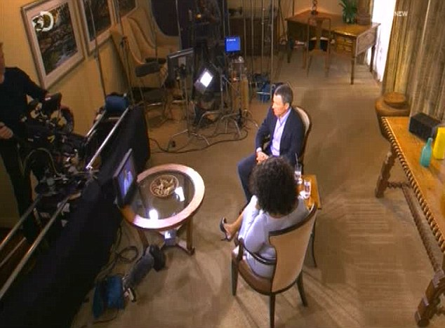 Lance Armstrong being interviewed by Oprah Winfrey