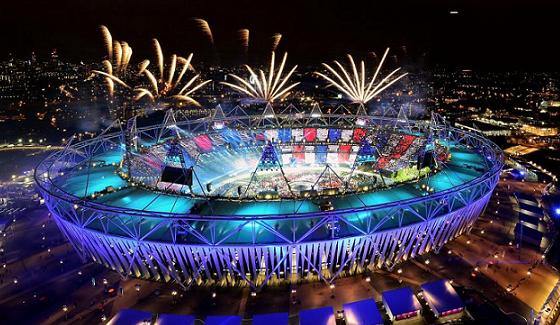 Olympic Stadium with fireworks