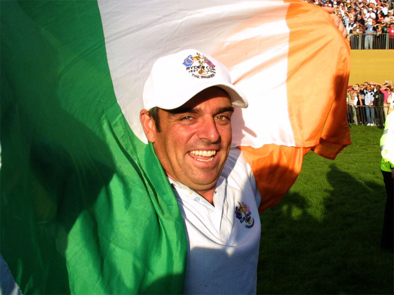 Paul McGinley celebrates Europe winning 2002 Ryder Cup