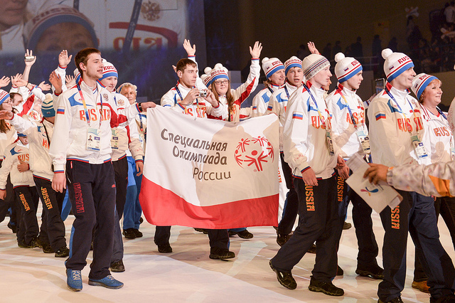 Pyeongchang 2013 Special Olympics Russian team walking at opening ceremony January 29 2013