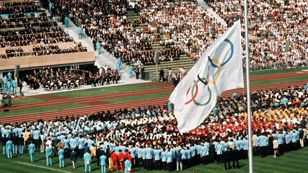 The Olympic flag flies at half mast at the 1972 Games in respect of the slain 11 Isreali athletes