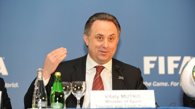 Vitaly Mutko behind name badge