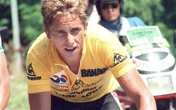 Greg LeMond wearing yellow jersey