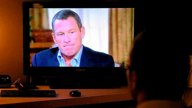 Lance Armstrong on TV screen during Oprah show