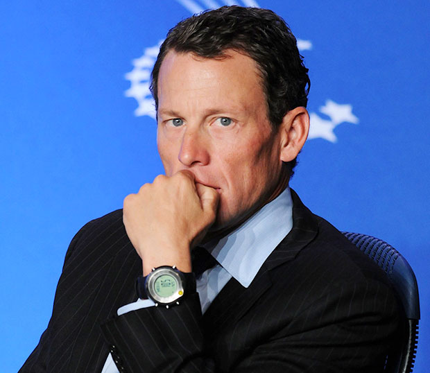 Lance Armstrong with hand on chin