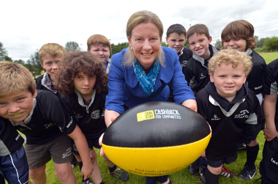 Shona Robison with rugby ball