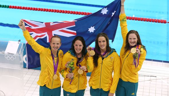Australia 4x100m relay team with gold medals London 2012