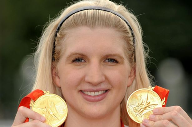 Becky Adlington with two Olympic gold medals