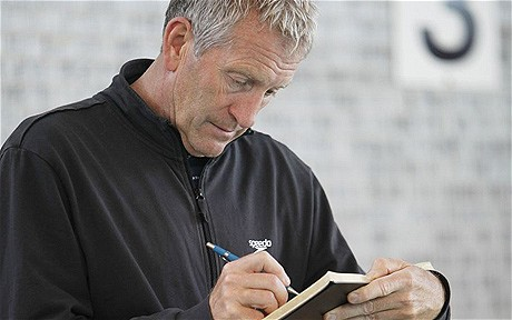 Bill Furniss with notebook