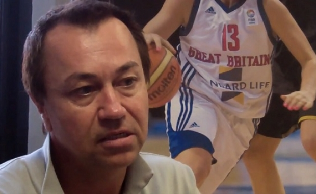 Chris Spice in front of British Basketball sign