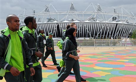 G4S security guards outside Olympic stadium London 2012