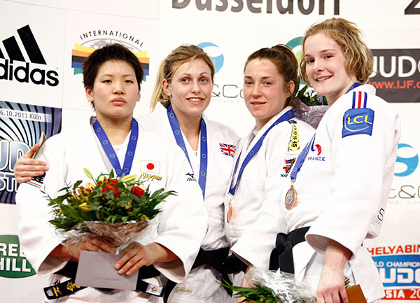 Gemma Gibbons on medal podium at Dusseldorf February 24 2013