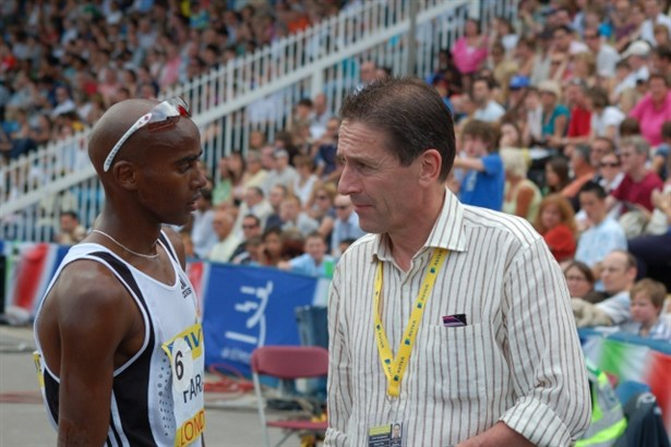 Ian Stewart with Mo Farah