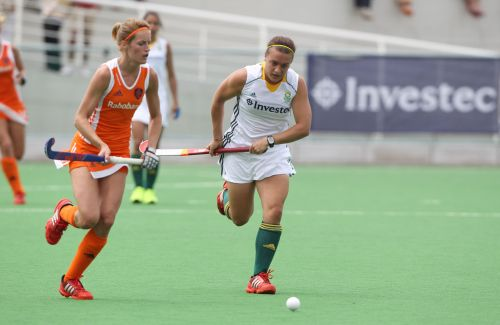 Investec SA striker Jade Mayne on attack in the Investec Challenge final against The Netherlands
