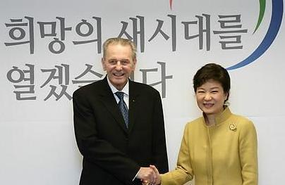 Jacques Rogge meets Park Geun-hye Seoul February 1 2013