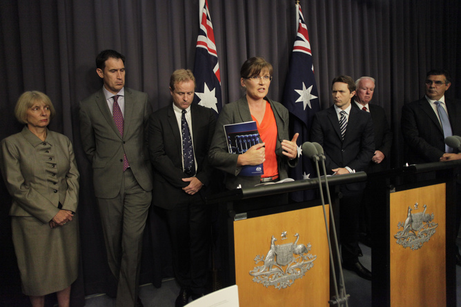 Kate Lundy at press conference Canberra February 7 announcing drugs report