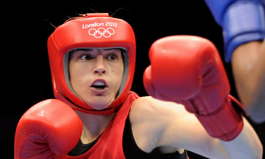 Katie Taylor fighting at London 2012