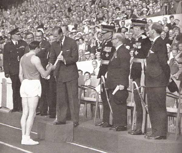 Ken Jones at opening Cardiff 1958 Empire Games