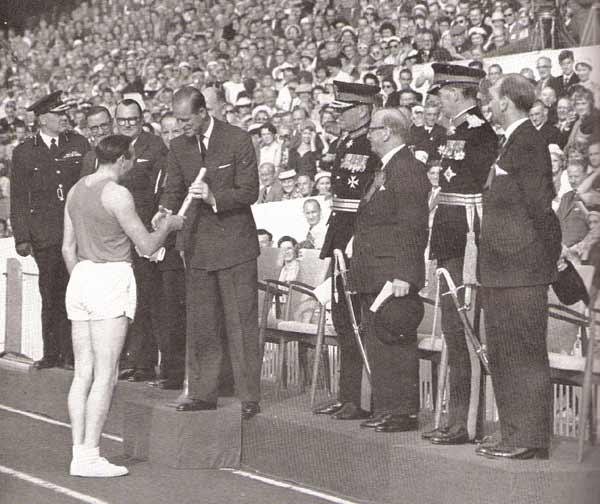 Ken Jones at opening Cardiff 1958 Empire Games