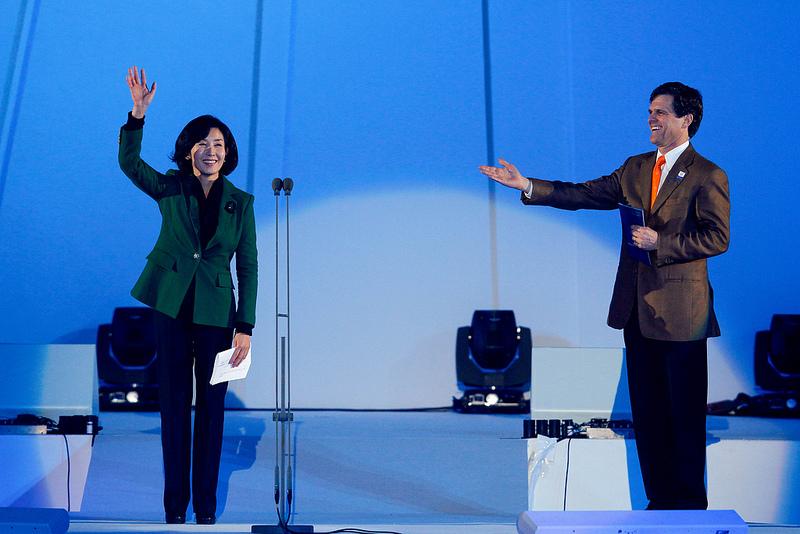 Na Kyung-won waves to crowd at end of Pyeongchang 2013